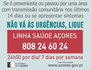 Linha de Saúde Açores 808 24 60 24 gratuita a partir de hoje